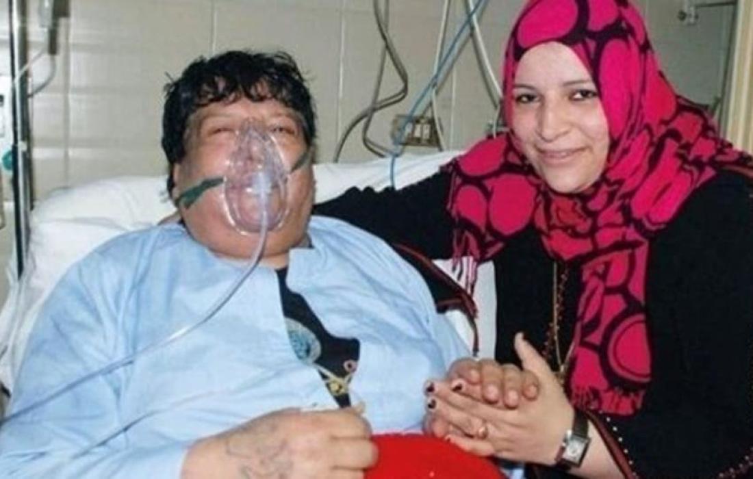 شعبان عبد الرحيم خلال تواجده في مسشتفى المعادي