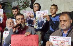 وقفة تضامنية مع الأسير المضرب عن الطعام سائد أبو عبيد في جنين