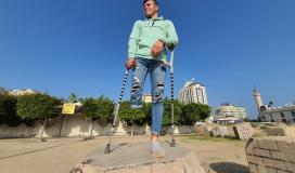 """""""عليوة"""" يتحدى فقدان قدمه في رياضة """"الباركور"""" الخطرة"""