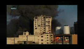 لحظة قصف برج الشروق غرب غزة وتسويته بالارض ...