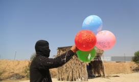 """""""وحد برق الجهادية"""" بغزة تطلق مئات من البالونات """"الحارقة"""" اتجاه البلدات المحتلة"""