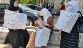 زوجة خضر عدنان خلال اعتصام رام الله.jpg