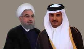 الرئيس الايراني حسن روحاني وامير قطر تميم بن حمد