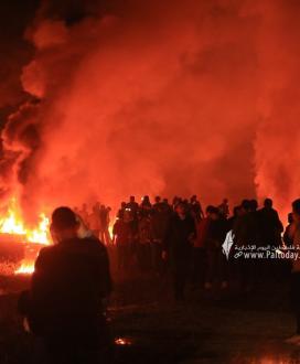 بالصور :انطلاق فعاليات الارباك الليلي عند حدود غزة ردا على ممارسات الاحتلال في القدس و الاقصى
